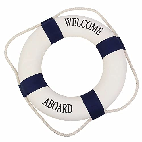 0e93f0e717de Amazon.com  Homecube Blue White Huge Welcome Aboard Cloth Life Ring  18