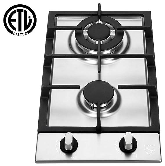 """K&H 2 Burner 12"""" LPG/Propane Gas Stainless Steel Cooktop 2-SSW-LPG"""