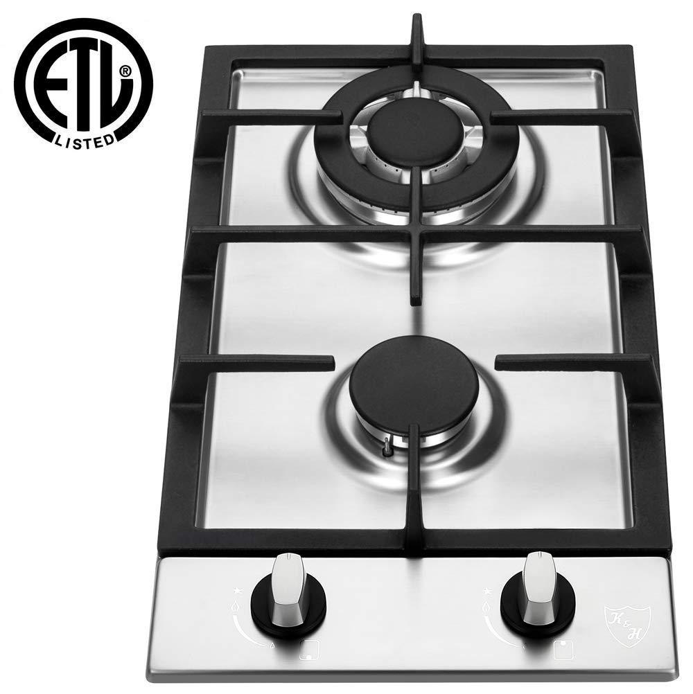 K&H 2 Burner 12'' LPG/Propane Gas Stainless Steel Cooktop 2-SSW-LPG
