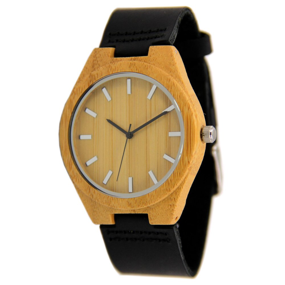 Bamboo Watches for Men with Genuine Leather Strap and Japanese Movement