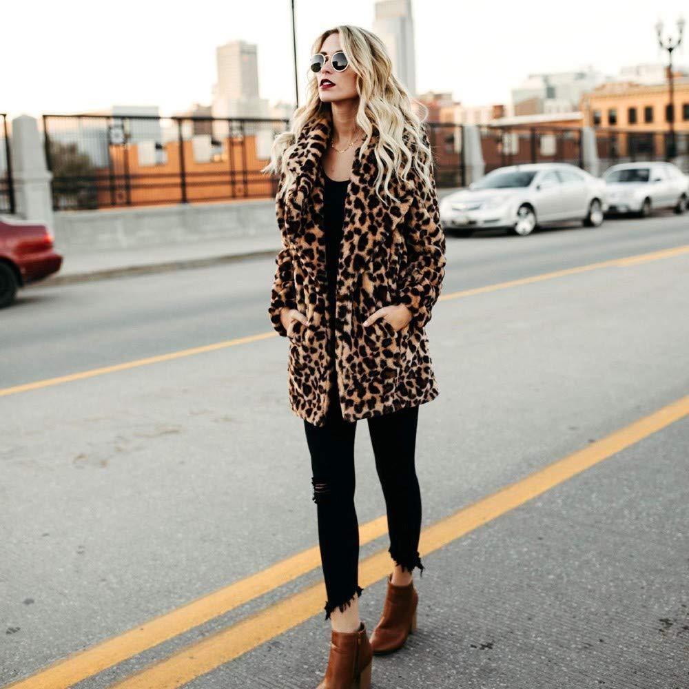 Amazon.com: WensLTD Womens Fashion Leopard Print Jumper Coat Shearling Shaggy Jacket with Pockets Warm Winter: Sports & Outdoors