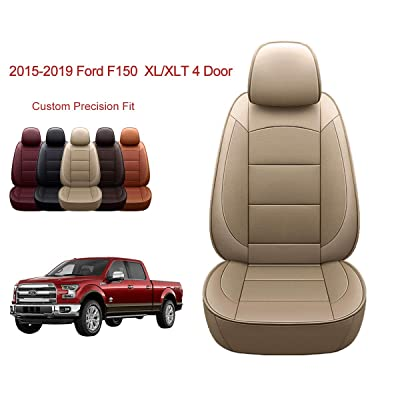 OASIS AUTO | 2015-2020 F150 Truck | 2020-2020 F250 F350 |Custom Fit PU Leather Seat Covers Full Set Compatible with Ford F-150 F-250 F-350 XL XLT Lariat Limited Platinum Pick up (TAN): Automotive