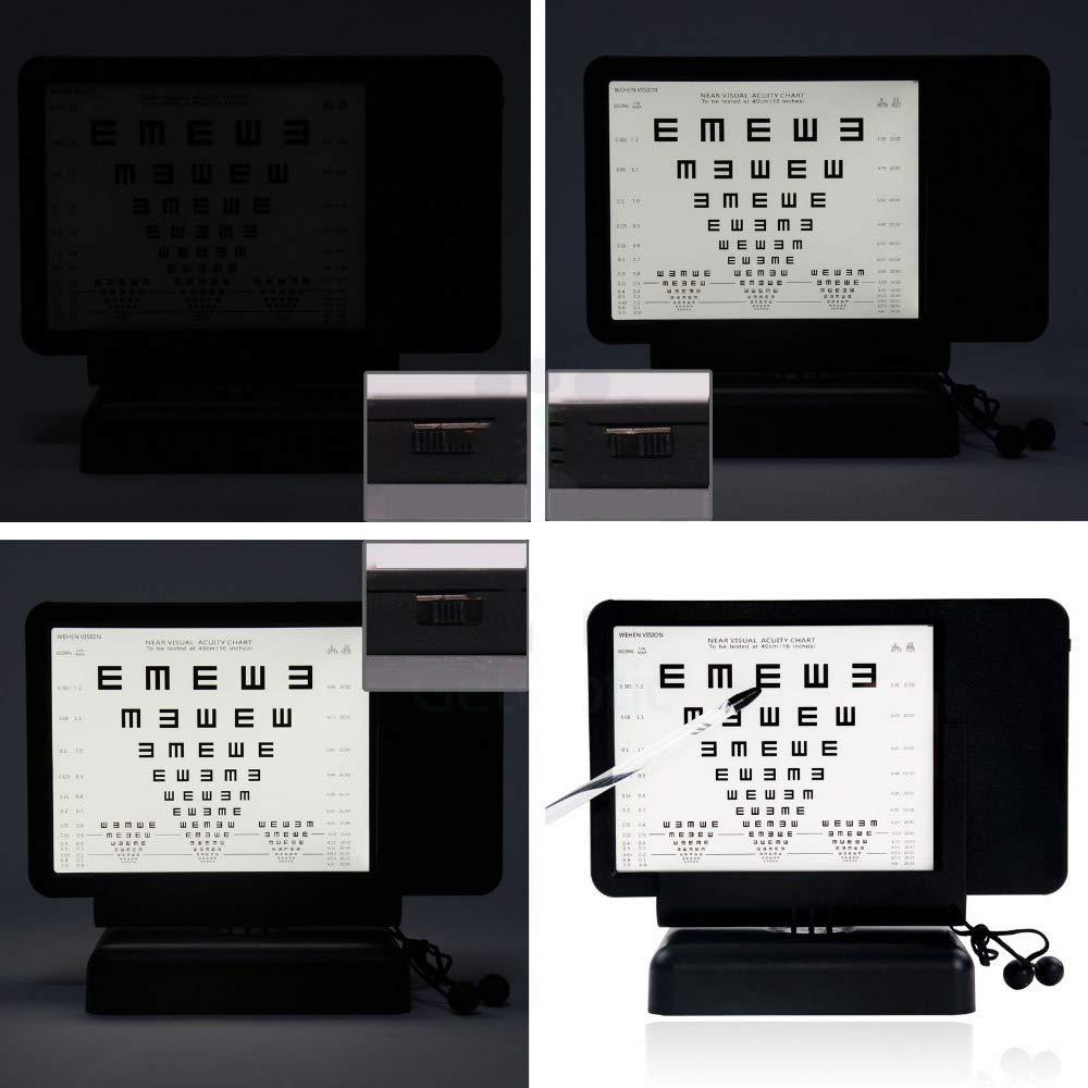 Huanyu Vision Chart Near LED Optical Visual Chart Lamp House Mini Optometry Tester with Ruler E Chart 40cm AC 100-240V (Transverse) by Huanyu (Image #4)