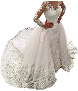 Fair Lady Illusion Vintage Lace Long Sleeve Wedding Dress For
