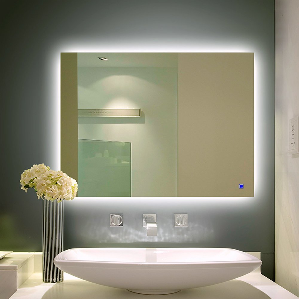 H&A Dimmable LED Backlit Mirror Anti-fog Illuminated Vanity Mirror Bathroom Mirror with Touch Button (32''x24'' No border)