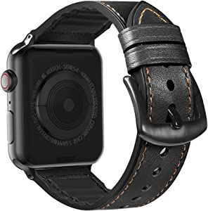 MARGE PLUS Compatible Apple Watch Band 44mm 42mm, Sweatproof Hybrid Genuine Leather and Silicone Sports Watch Band Replacement for iWatch SE Series 6 5 4 3 2 1, Black