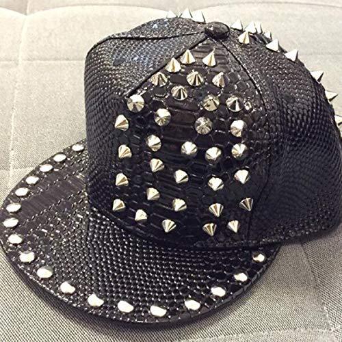 (Arrive Solid Leather Snakeskin Grain Rivet Luxury Hats Hip Pop Hats Fashion Baseball Cap)