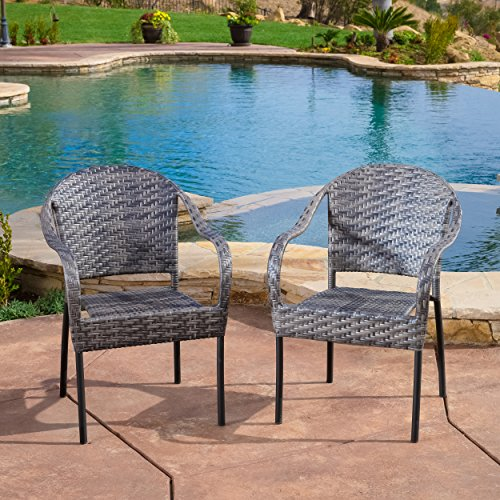 Great Deal Furniture Outdoor Wicker Armchairs | Set of 2 | Perfect for Patio Dining | in Grey (Wicker Gray Chairs)