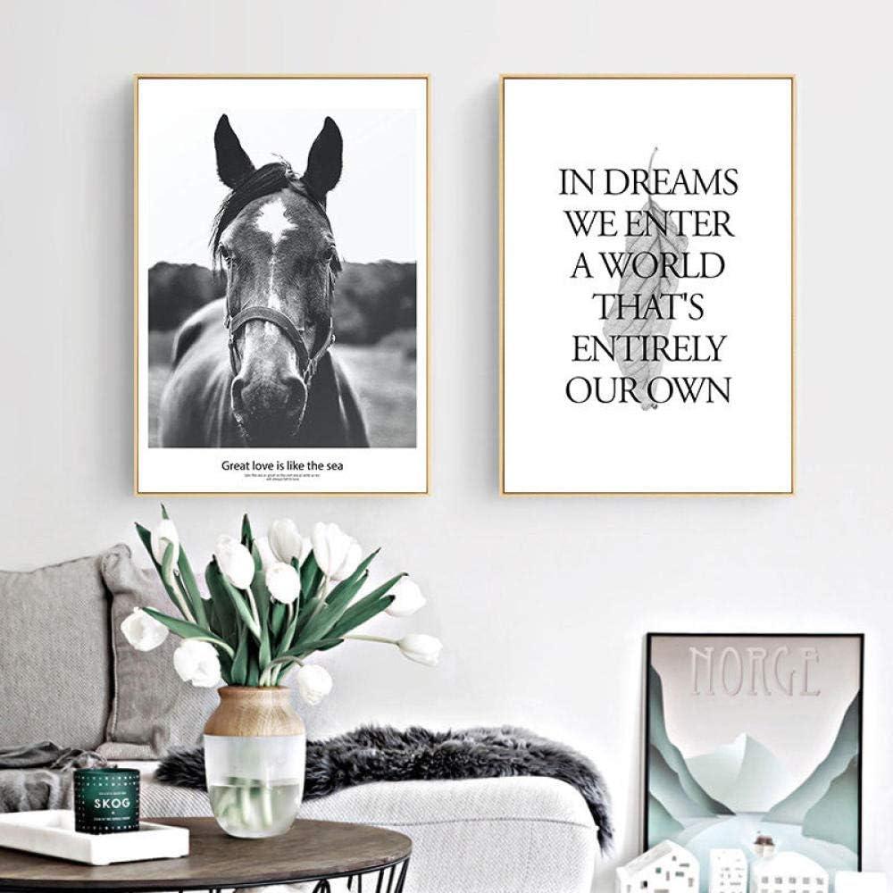 Cartel moderno del arte de la paredPintura del lienzo del arte del caballo negro Cita en inglés Imprimir imagen 35 * 50cm