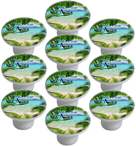 Tropical Beach Ceramic Cabinet Drawer Pull Knob (Set of 10 Knobs) ()