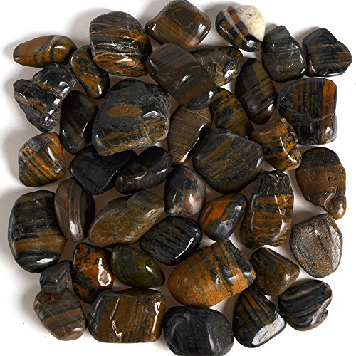 Byher Decorative Polished Pebbles, Stripe Ornamental River Pebble Rocks for Fresh Water Fish Animal Plant Aquariums, Landscaping, Home Decor etc, 2.2lb