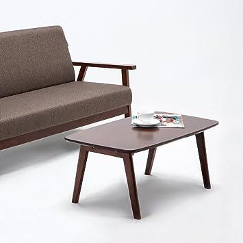 Krei Hejmo Solid Wood Coffee Tea Sofa Side Table (Dark Brown)