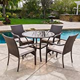 Great Deal Furniture Novena Outdoor Brown Wicker 5-Piece Dining Set with Cushions Review