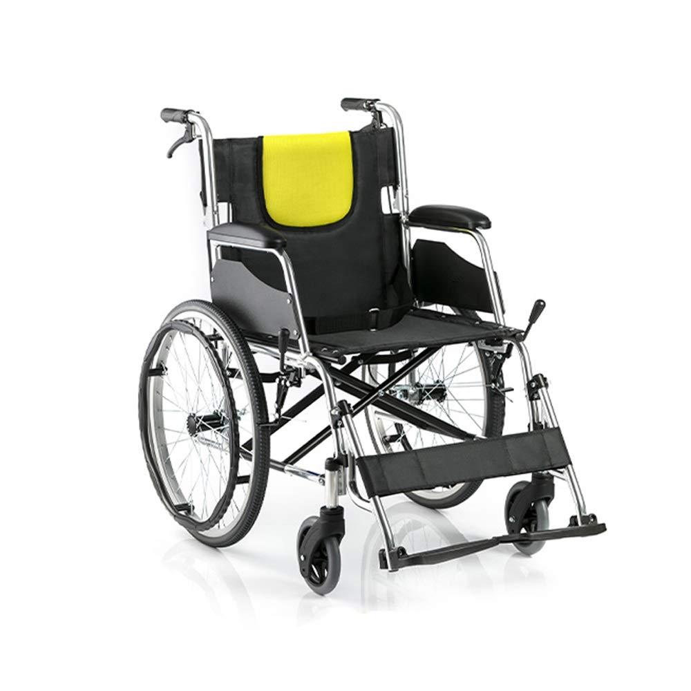 YANGLIYU Folding Self Propelled Wheelchair,Lightweight Aluminium Folding Transit Travel Wheelchair with Handbrakes,Aluminium Wheelchair,Can Bear 100 Kg,Black
