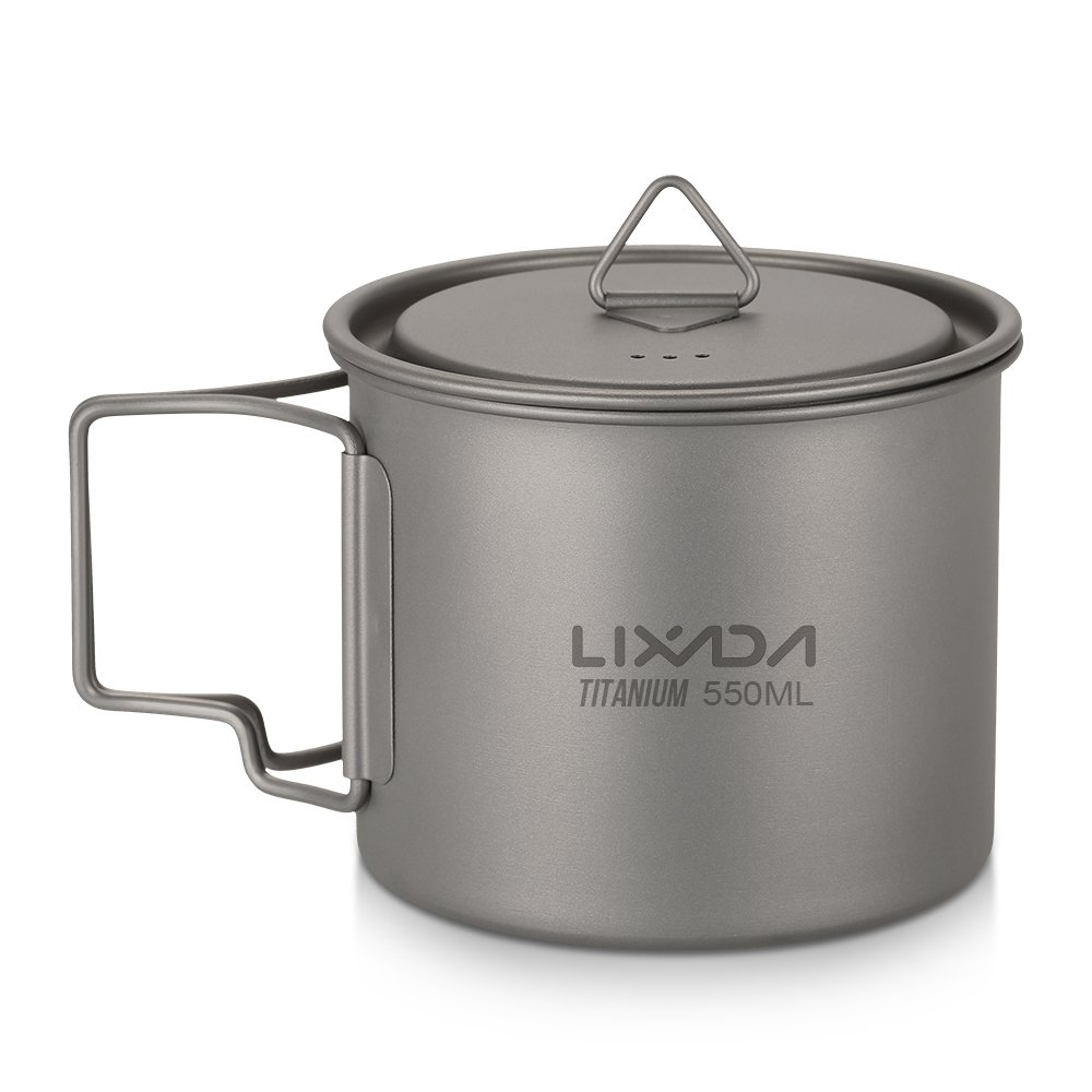 Lixada Titanium Cup Camping Mug Ultralight Foldable Handle with Lid and Stuff Sack Outdoor Titanium Pot (300ml-750ml Optional) by Lixada