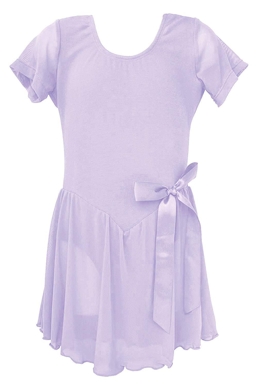Dancina Toddler Ballet Leotard Dress Short Sleeve Full Front Lining 2-3T Lavender by Dancina (Image #1)