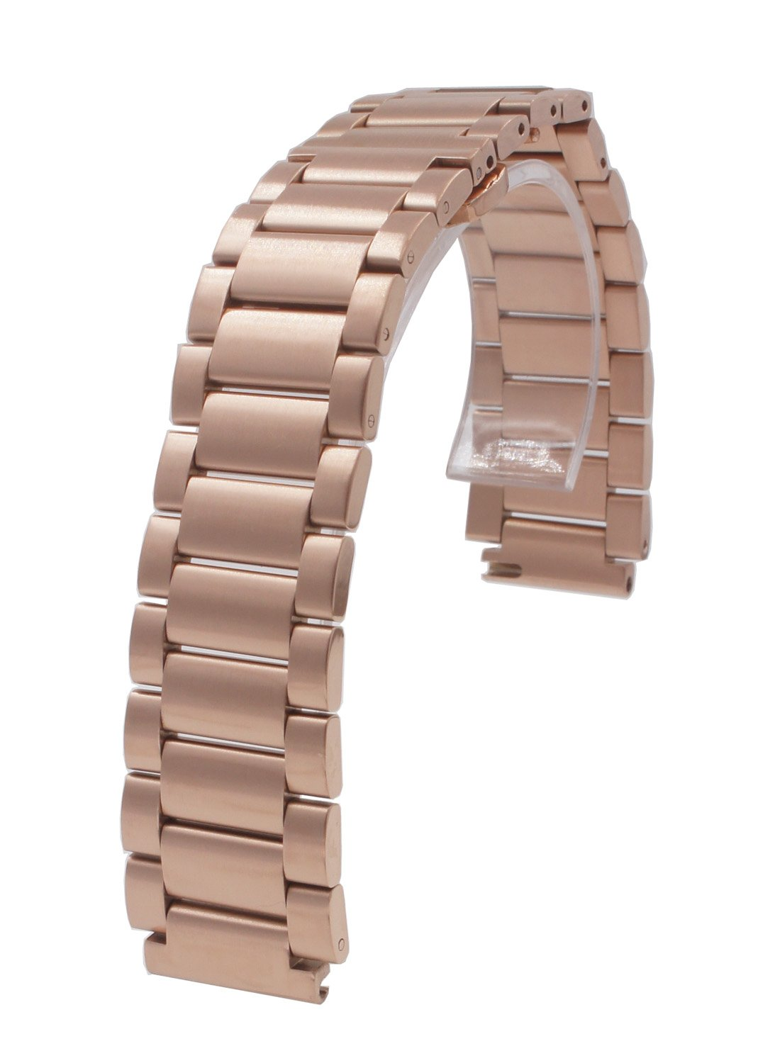 Stainless Steel Watch Band 18mm Lug 22mm Width Strap Quick Release Smart Watch Bracelet for Huawei Smart Watch / Huawei Fit (Rose Gold)