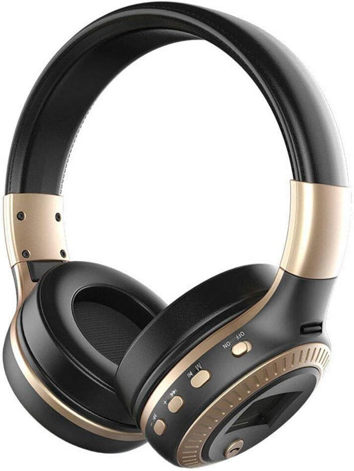 Bluetooth 4.1 Wireless Stereo Headphones Foldable Headset Super Bass Earphones (Black Gold)