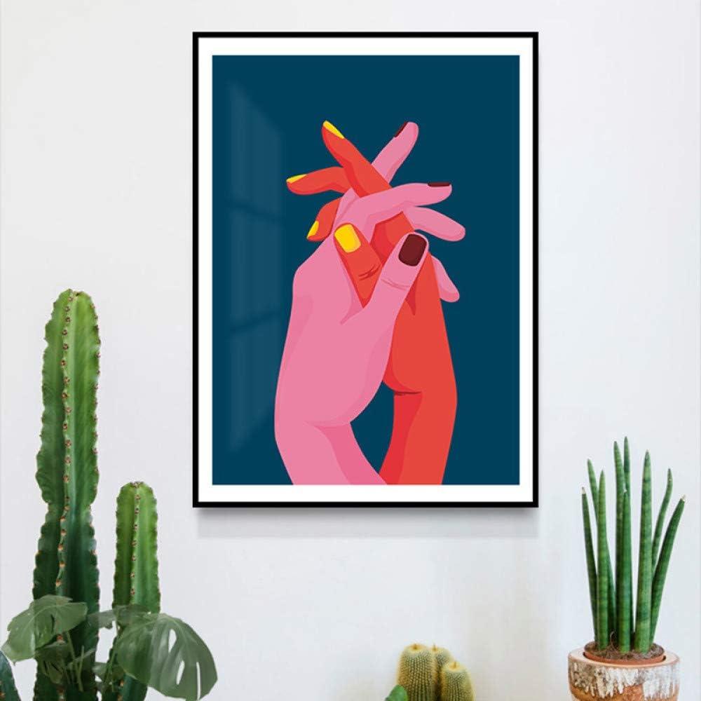 N / A Estilo Rosa Rojo Manos Cruzadas Arte Abstracto Pintura Mural Sala Carteles e Impresiones sin Marco 40x60 cm