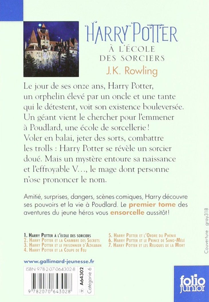 Harry Potter A L'Ecole des Sorciers (French Edition): J. K. Rowling:  9782070643028: Amazon.com: Books