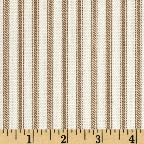 Vertical Ticking Stripe Ivory Brown Fabric By The Yard