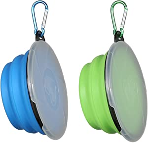 Collapsible Dog Bowl,2 Pack Portable and Foldable Pet Travel Bowls Collapsable Dog Water Feeding Bowls Dish for Dogs Cats and Small Animals,with Lids (Small, Blue+Green)