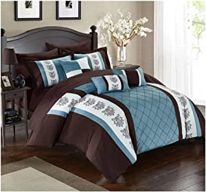 Chic Home 8 Clayton Pintuck Pieced Color Block Embroidery Twin Bed in a Bag Comforter Brown with Sheet Set
