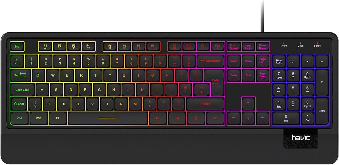 havit Teclado con cable USB, silencioso LED retroiluminado, teclados ergonómicos arco iris con reposamuñecas para oficina, PC de sobremesa, portátil, ...
