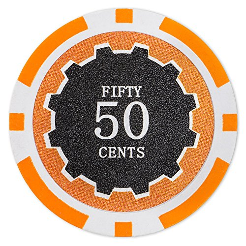 Gram Sets Poker Chips - Brybelly Eclipse Poker Chips Heavyweight 14-gram Clay Composite - Pack of 50 ($0.50 Orange)
