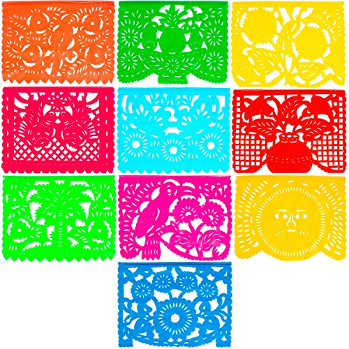 Large Plastic Papel Picado Banner - 15 Feet Long - Two Designs to choose from (1 Pack, All Occasions) -