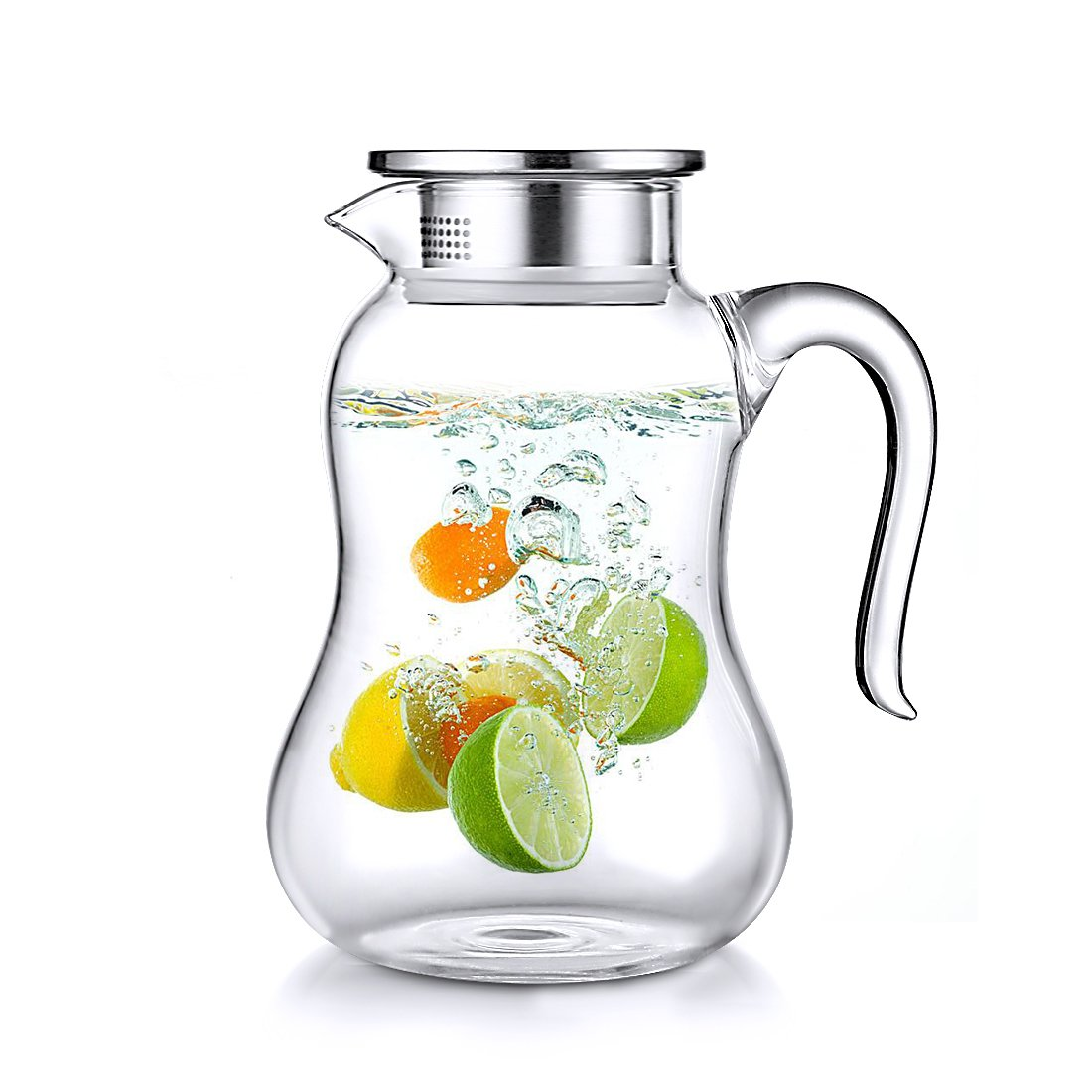 ONEISALL Borosilicate Glass Water Pitcher with Stainless Steel Lid - 1500ML/51oz Carafes with handle infuser Juice Tea Milk DHTUS695