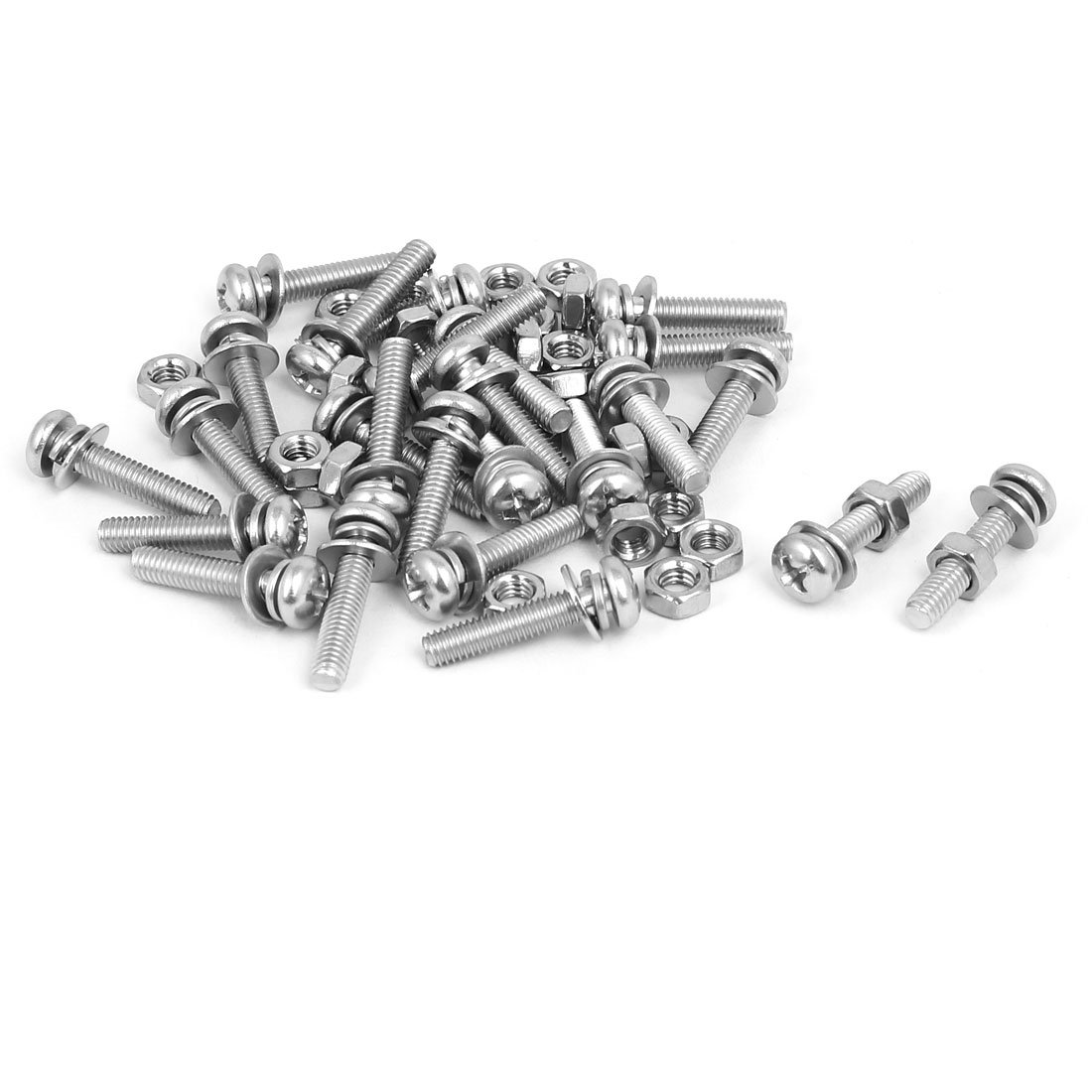 uxcell M4 x 20mm 304 Stainless Steel Phillips Pan Head Screws Nuts w Washers 25 Sets