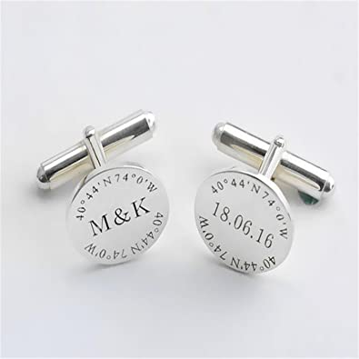 Amazon.com: LAOFU Groom Wedding Cufflinks, Custom Engraved ...