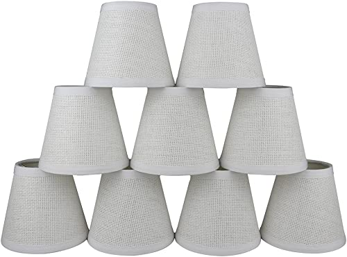 Urbanest Set of 9 Woven Paper Hardback Chandelier Lamp Shade, 3-inch by 5-inch by 4.5-inch, Clip-on, White