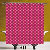 Hot Pink Polka Dot Shower Curtain Durable Shower Curtain 3.0 [ Girls Decor,Polka Dots Vintage Textured Classical Lovely Feminine Nostalgic Design,Hot Pink Yellow ] Waterproof and Mildewproof Polyester Fabric Bath Curtain Design