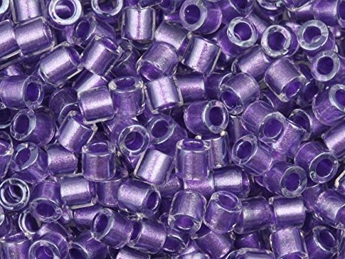 Miyuki 8/0 Inside Color Lined Crystal/Purple Delicas 8g ()