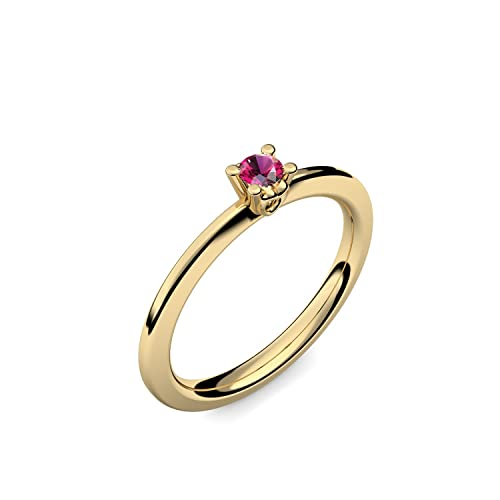 Oro anillo Rubin 585 + Incluye Luxus Funda + Libre de Porto Rubin Anillo Oro Anillo