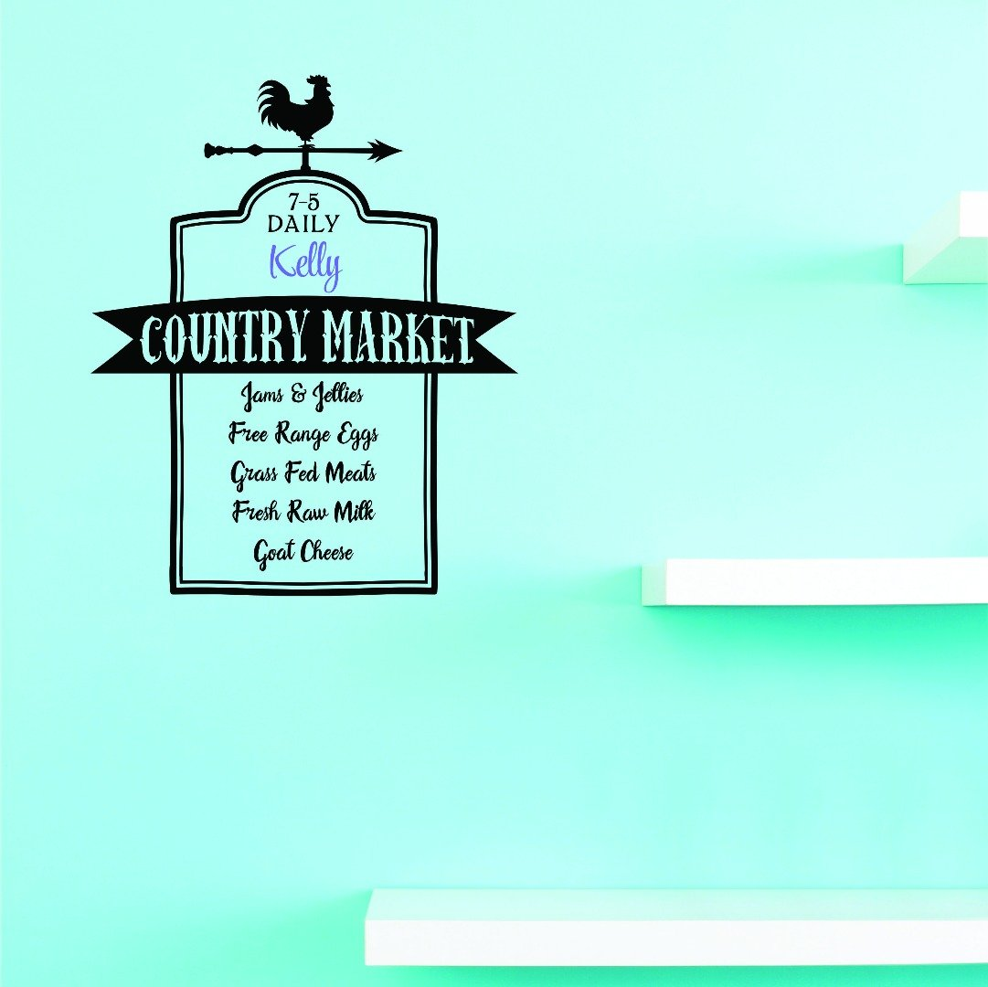 Design with Vinyl 2 Jer 1800 2 7 5 Daily Kevin Country Market Jams and Jellies Free Range Eggs Grass Fed Meats Fresh Raw Milk Goat Cheese Wall Art Size 14 x 28 Inches Color 14 x 28 Black