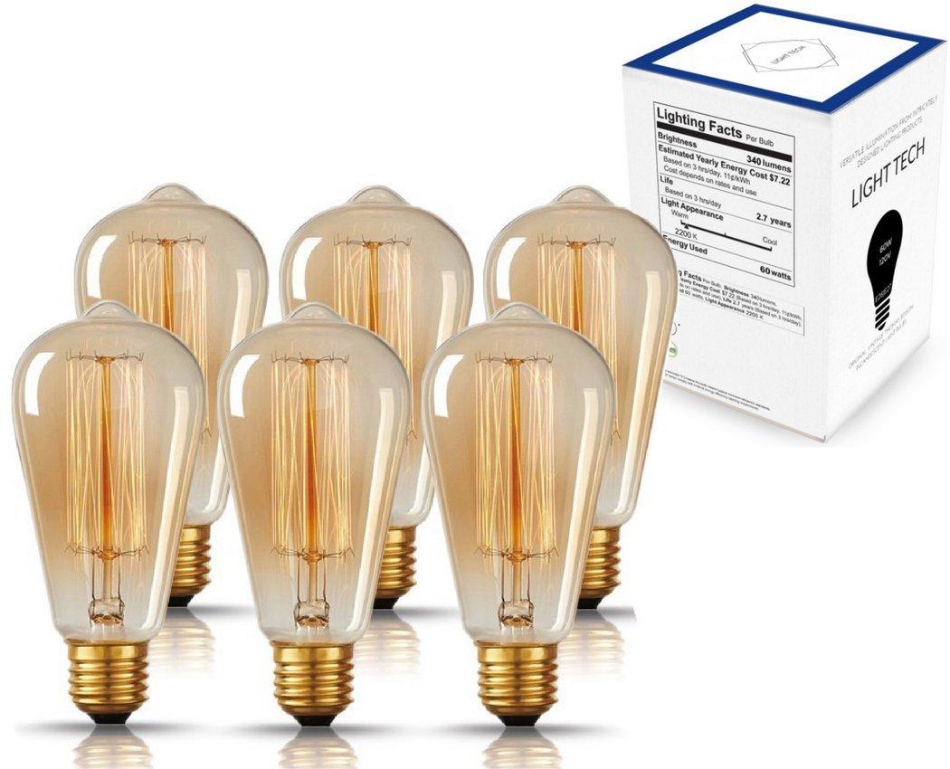 Original Vintage Thomas Edison Incandescent Light Bulbs - 6 Pack - Tungsten Filament, Amber Clear Glass, 60 Watts, 120 Volts, E26 / E27 Medium Base by Light Tech