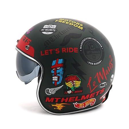YLee Casco Retro Motocicleta Harley Retro Cara Abierta 3/4 ...