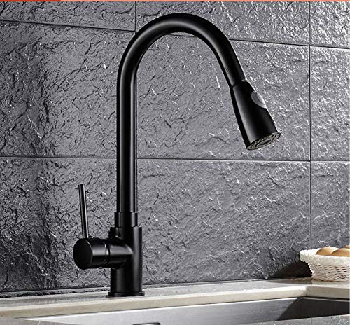 Kitchen Pull Out Cool Black Painted Finish Flexible Hot and Cold Mixer Taps Deck Mount Swivel Faucet Ceramic Disc Basin Faucets