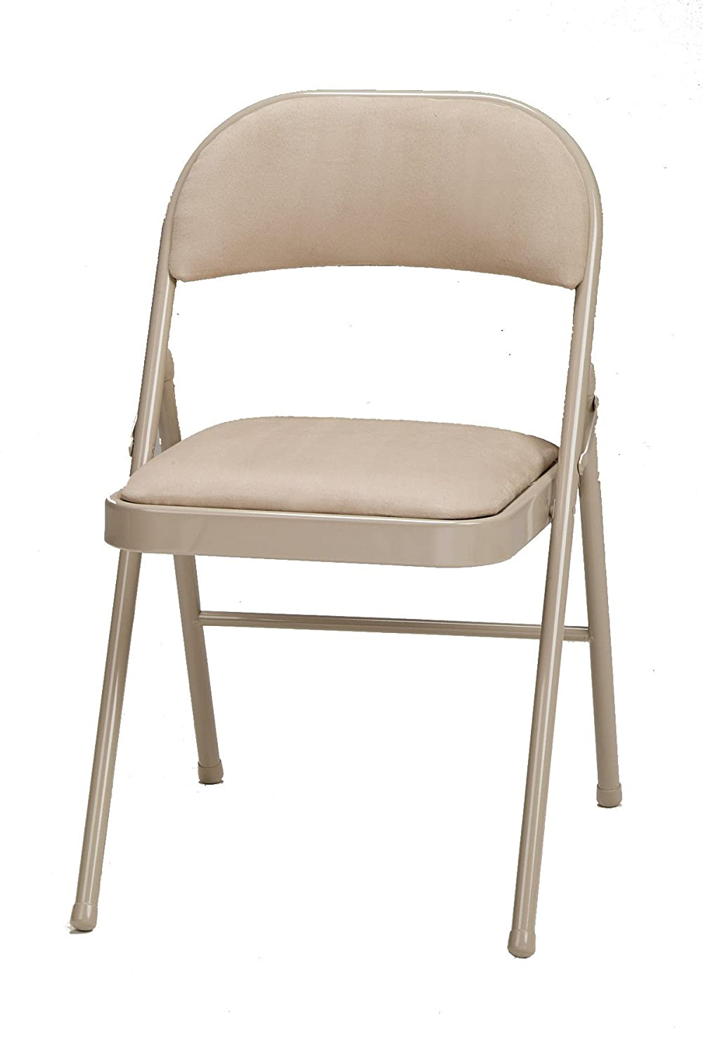 Amazon.com: Meco 4 Pack Deluxe Fabric Padded Folding Chair, Buff Frame And  Sand Fabric Seat And Back: Kitchen U0026 Dining