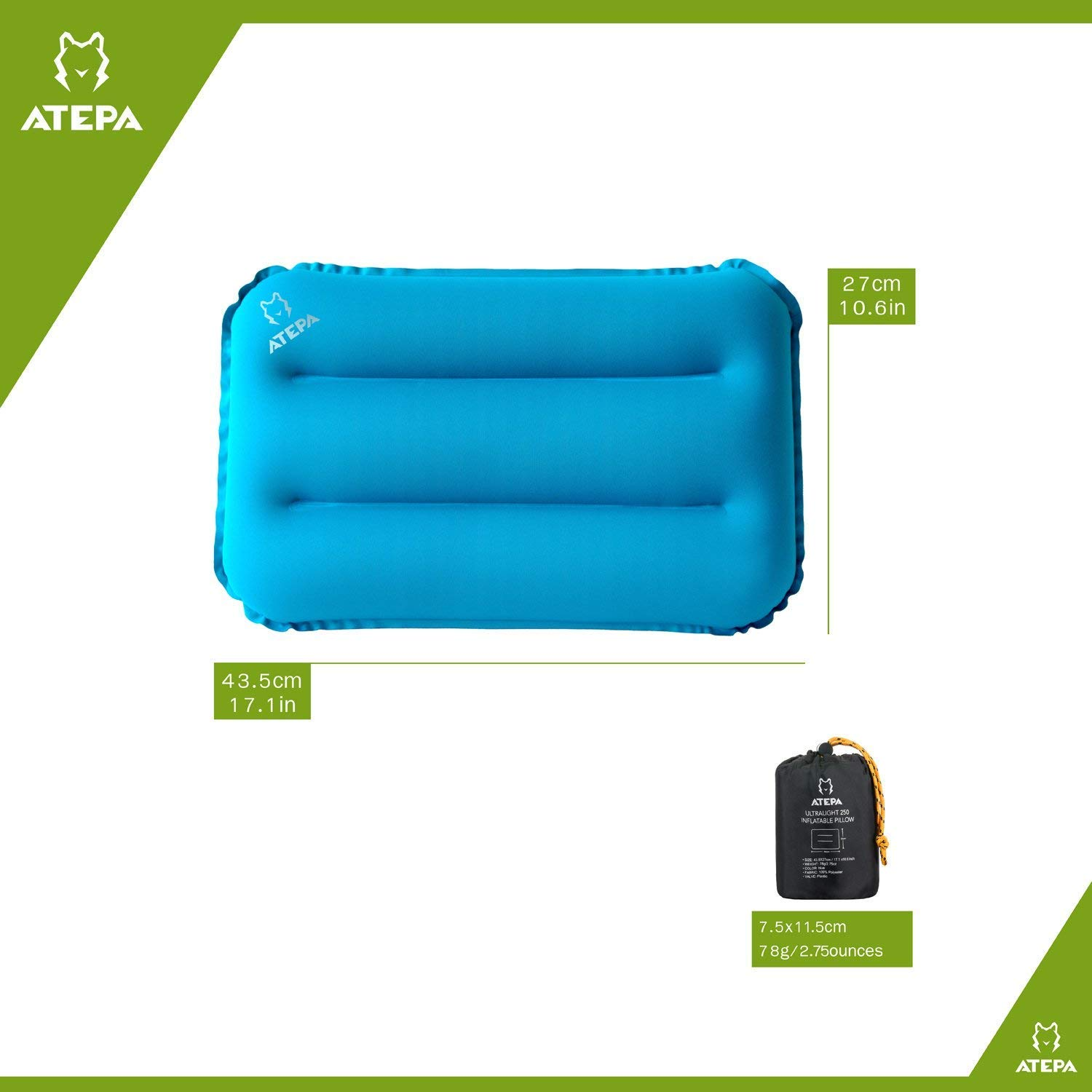 ATEPA Ultra Light 250 Inflatable Pillow with Patent Plastic Valve and Repair Cloth for Camping, Office, Home, Traveling