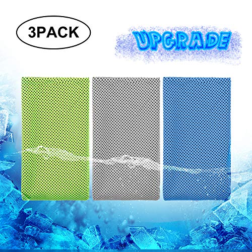 Biange Cooling Towel (3 Pack) Thicker and Cooler for Sports, Workout, Fitness, Gym, Yoga, Golf, Pilates, Travel, Camping & More (Green Blue Grey)