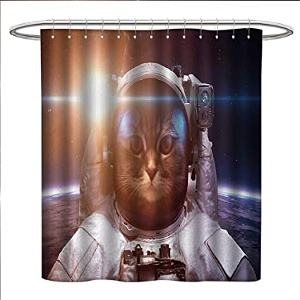 Anniutwo Space Cat Shower Curtains Fabric Extra Long Brave Astronaut Kitty In Suit Above World