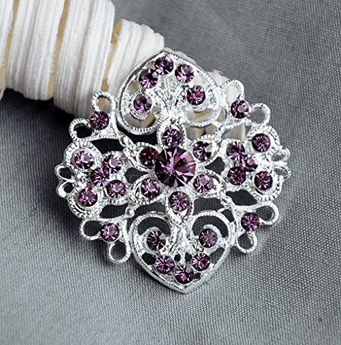 (5 Rhinestone Button Embellishment Amethyst Purple Crystal Bridal Hair Comb Wedding Brooch Bouquet Invitation BT511)