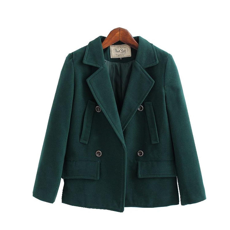Yougao Women's Double-Breasted Classic Wool Short Coat Peacoat
