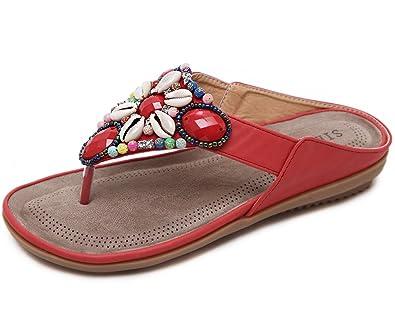 933ad282cd5f Gaatpot Women s Bohemia Flip Flops Beaded Flat Sandals Soft Comfort Shoes  for Beach Holiday Size UK2