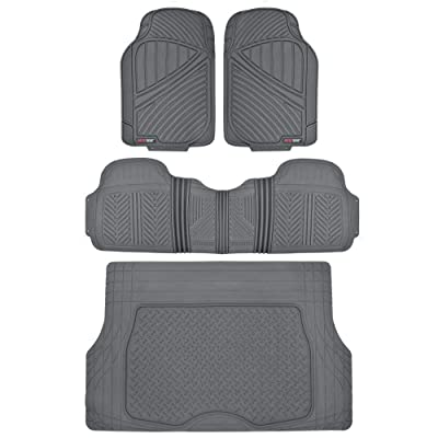 Motor Trend Flextough Rubber Car Floor Mats & Cargo Trunk Mat Set Black Heavy Duty - Odorless, Extreme Duty (Gray) - MT-773-884-GR: Automotive