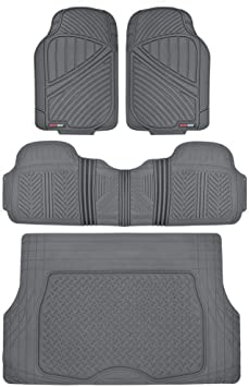 Gray 4 PC 100/% Odorless /& All Weatherproof Motor Trend MT754GRAMw1 FlexTough Heavy Duty Car Floor Mats